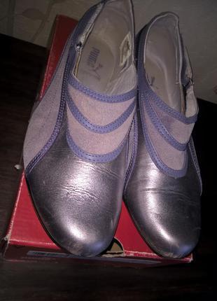 Кожаные спортивные туфли мокасины пума 38