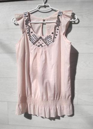 Блуза майка нежно розовая с декором бисером пайетками