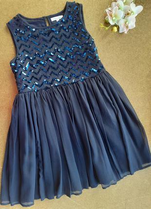 Нарядное темно-синее платье в пайетках с пышной фатиновой юбкой 8 лет bluezoo