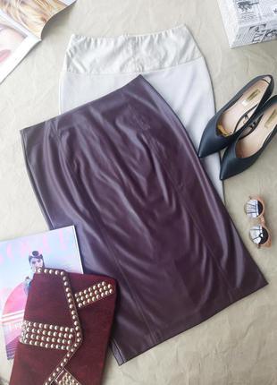 Базовая кожаная юбка шкіряна спідниця сливового кольору від french connection