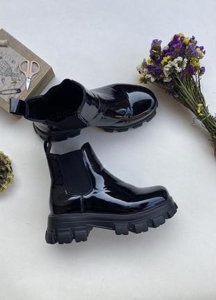 Чёрные лакированные штиблеты ботинки cropp