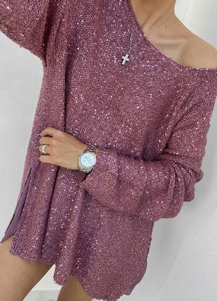 Необычная двухслойная туника - свитер цвета пыльной розы в пайетках