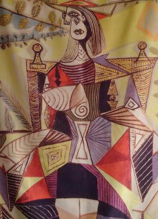 Яркий, теплый шарф, палантин, принт picasso
