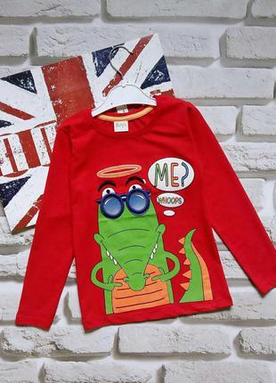 Красные регланы кофты с крокодилом для мальчиков 4-8 лет