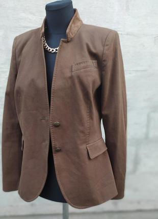 Zara women коричневый френч заплатки замш на локте р м