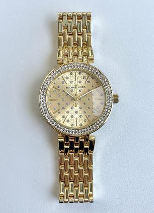 Женские часы металлические с камнями золотистые цвета золото