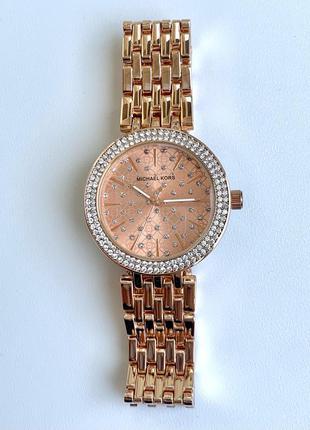 Женские розовые часы металлические с камнями розовое золото