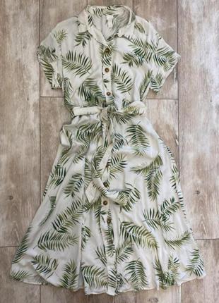 Платье рубашка на пуговицах с поясом