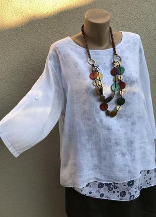 Лен,блуза многослойная,рубаха,туника,этно бохо стиль, италия ,