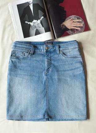 Голубая хлопковая джинсовая юбка миди женская nydj, размер l