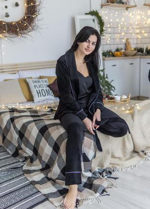 Хіт! чорна тепла бархатна піжама, халат/штани/шорти/футболка/чёрный зимний пижамный костюм
