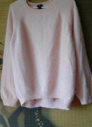 Ангоровый/70%ангора/ нежно-розовый пушистый свитер реглан h&m/ l