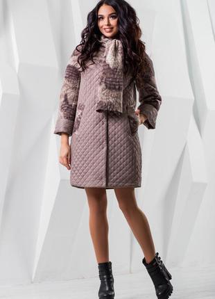 Стильное пальто с утеплителем + отстегивающийся шарф-капюшон 48-50 ( l/m)