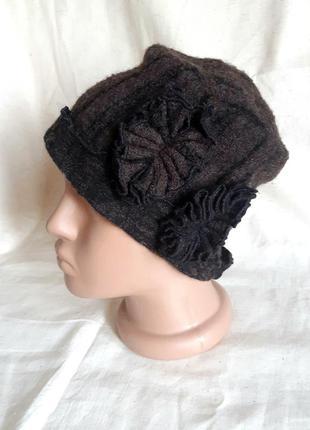 Шерстяная черно коричневая шапка шляпка nu германия one size