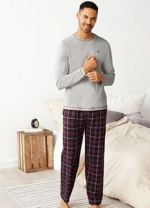 Теплая пижама с фланелевыми брюками,мужской домашний костюм германия