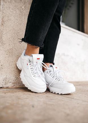 Кроссовки кожаные женские белые, кросівки жіночі fila disruptor 2 white