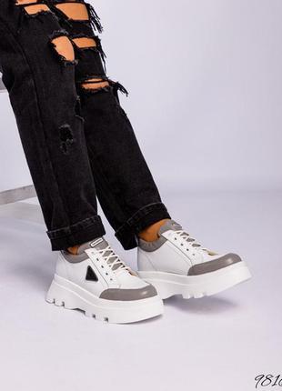 Код 9816 спортивные туфли на объёмной подошве натуральная итальянская кожа