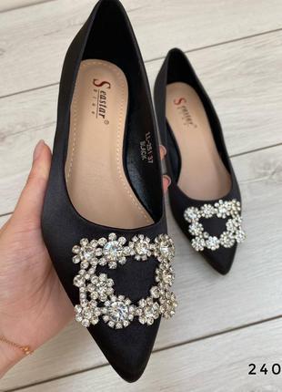 Чорні балетки / туфельки з декором