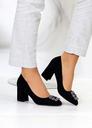 "Туфли ""princess"" женские черный экозамша туфлі жіночі чорний екозамша"