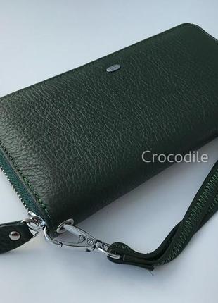 Вместительный кожаный кошелек 1290 темно-зеленый