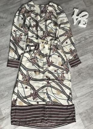Платье на пуговицах с поясом h&m