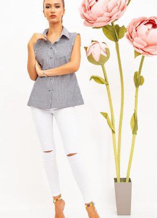 Блуза без рукавов, полосатая