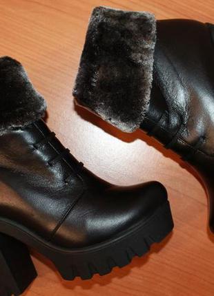 Зимние ботинки ботильоны кожаные на овчине женские размер 37 стелька 23,7 см