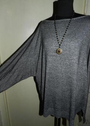 Стильная,трикотажная блузка,летучая мышь,меланж,большого размера,f&f