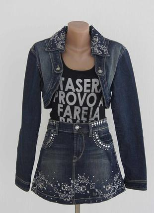 Джинсовый комплект юбка куртка р.l