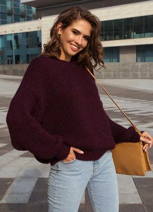 Теплый и мягкий свитер оверсайз собъемным узором