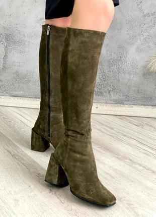 Сапоги замшевые на широком толстом каблуке 8см из натуральной замши хаки