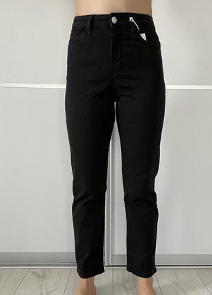 Чорні штани джинси укорочені базові reserved, крутые женские штаны, укороченные черные джинсы.