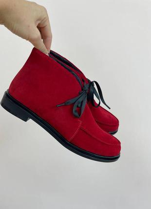 Туфли хайтоп на шнурках красный замш люкс