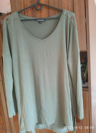 Симпатичная футболка с блинным рукавом,цвет хаки