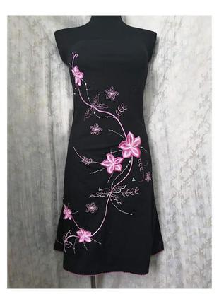 Хлопковое чёрное платье с вышивкой на подкладке в азиатском стиле jane norman