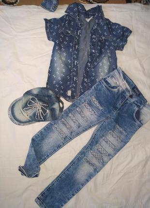 Продам крутой джинсовый костюм на девочку