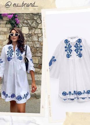 Zara мини платье рубашка с вышивкой