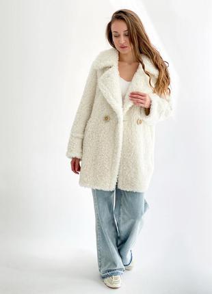 Зимняя натуральная белая шуба полушубок из стриженной овчины