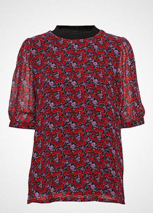 Красивая  шифоновая футболка блуза топ с принтом цветы розы gestuz дания