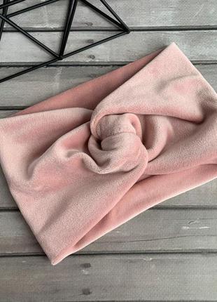Повязка пудровая женская на волосы, чалма на голову розовая пудра тюрбан