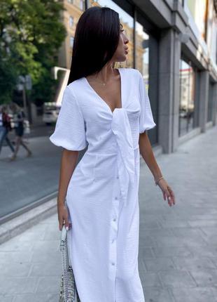 🔥 длинное миди платье с завязками на груди, на пуговицах, с разрезом, с объемными короткими рукавами