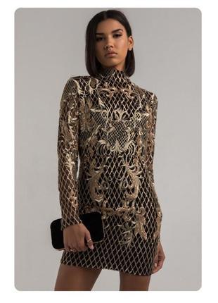 Вечернее мини платье золото с чёрным с рукавами, открытая спина