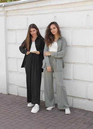 🌺 разные цвета🌺лёгкий прогулочный костюм двойка рубашка+ брбки бермуды