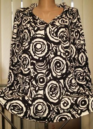 Натуральный лонгслив легкая кофта черно- белый принт yessica c&a большой размер батал