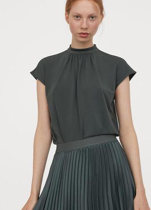 Изумрудный топ пррсторная блузка с воротником стойка блуза зеленый хаки