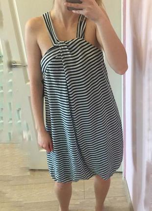 Zara платье в полоску, тельняшка, xs-s, горизонтальная полоска, открытые плечи