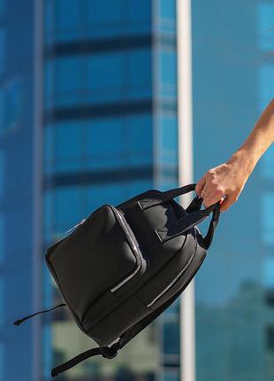 Женский черный рюкзак кожаный рюкзачок городской