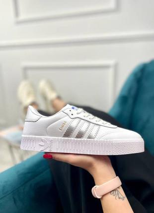 Adidas samba white silver кроссоки женские