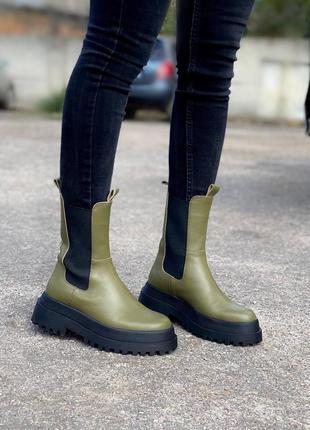 Ботинки женские кожаные на байке