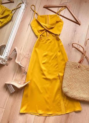 Вечернее платье-комбинация с вырезом на талии